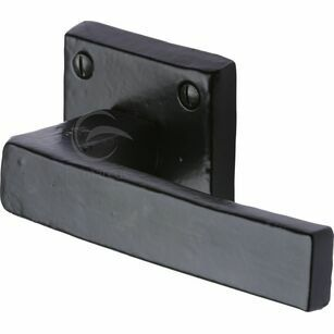 Marcus Hanwood Black Iron Rustic Door Handle Lever Latch on SQ Rose