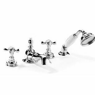 Samuel Heath Antique Bath Mixer Tap Set With Shower Deck Mounted