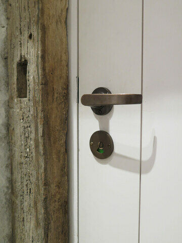 Rustic bronze lever with bathroom release c/o Hauser & Wirth Gallery, Bruton